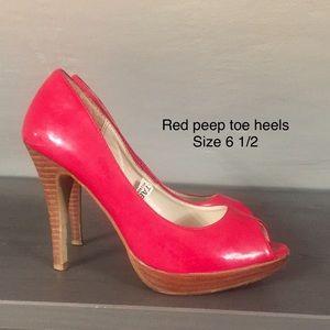 Red Peep Toe Heels ~ size 6.5